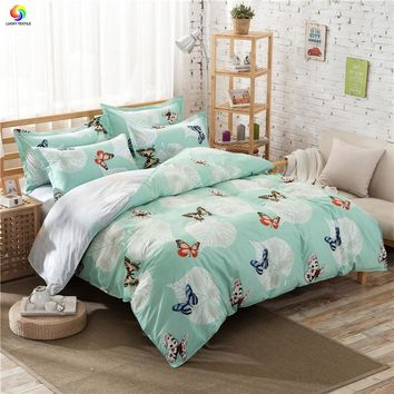 Home textile butterfly bedding set feather flower duvet cover set king size adult bedding donuts bed sheet bed linen five size