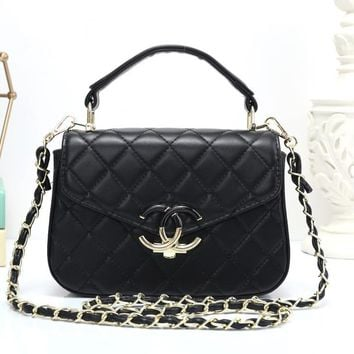 Chanel Women Simple Fashion All-match Quilted Metal Chain Single Shoulder Messenger Bag Handbag