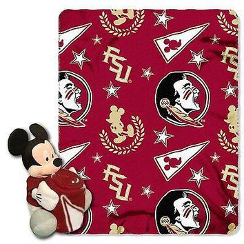 Florida State Seminoles NCAA Mickey Mouse Throw and Hugger Pillow Set