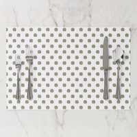 Good Luck Symbol Clover Pattern Gold White Paper Placemat