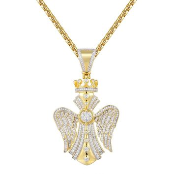 Designer Cross with Wings & Crown Pendant Tennis Chain