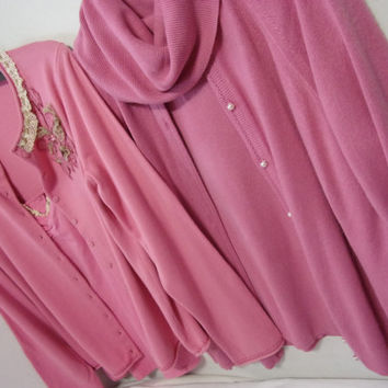 Sweaters Sets.Rose Pinks Select Options Designer Origialls Cardigan Cowlneck Or SO Cardigan Lace Trim Camisole Set