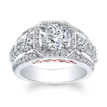 Ladies 18kt white gold vintage diamond engagement ring with rose gold filigree and 1.50ct Round White Sapphire with 1.00ctw G-VS2 diamonds
