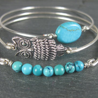 Silver and Turquoise Bracelet set - Silver Owl Bracelet - Silver Bangle - Owl Bangle - Turquoise Jewelry - Turquoise Bracelet - Turquoise