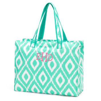 Mint Ikat Beach Bag, Beach Tote Bag, Pool Bag, Large Beach Bag, Monogrammed Beach Bag, Personalized Beach Bag