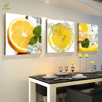 JHLJIAJUN Canvas Painting 3pcs Restaurant Half Orange Fruits Wall Art Modern Modular Pictures On For Kitchen Decor Poster