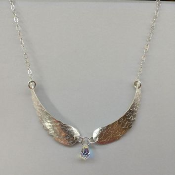 Sterling Silver Hammer Sculpted Angel Wing Necklace
