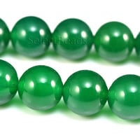 green agate beads - natural green agate - agate gemstone beads - agate beads wholesale - green beads - round beads -size 6-14mm -15 inch