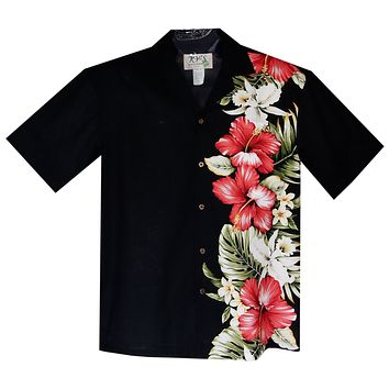 Red Hibiscus Black Vertical Border Hawaiian Shirt