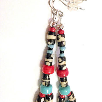 "Ethnic Dangle Earrings for Women, Handmade Etsy, Drop: 3 1/4"", Crow Beads, Bone Beads, Ghana Seed Beads, Unique Gift for Her, Christmas"