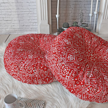 Aimee St Hill Amirah Red Floor Pillow Round