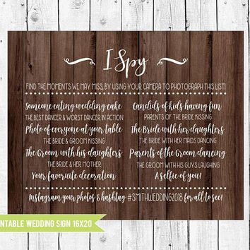 Wooden Wedding Games signs, I Spy Scavenger Hunt with Personalized Hashtag, I Spy Rustic Wedding, Wooden wedding sign 16x20, PRINTABLE FILE