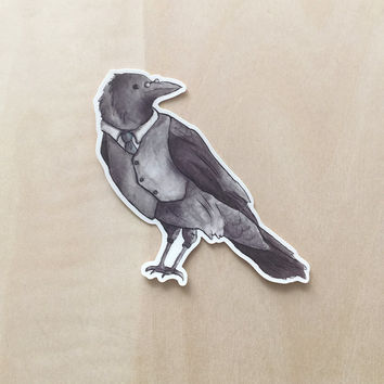 Watercolor Crow - Vinyl Sticker