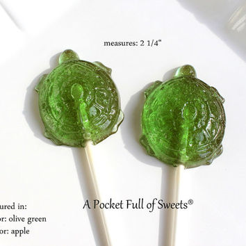 10 SEA TURTLE LOLLIPOPS Party Favors Barley Sugar Hard Candy Lollipops Birthday Party Favors Gifts