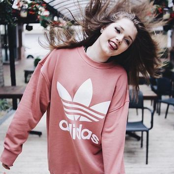adidas women men fashion loose pullover sweatshirt-1
