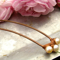 Pearl Jewelry Copper hair stick Handmade copper hair pin Hair fork - Wedding accessories