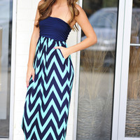 Ocean Breeze Chevron Maxi Dress: Navy/Aqua | Hope's