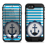 The Vector Navy Anchor with Blue Stripes  iPhone 6/6s Plus LifeProof Fre POWER Case Skin Kit