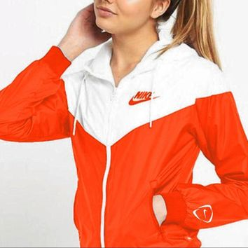 nike fashion women men casual long sleeve print hooded zipper cardigan coat white orange red