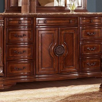 Traditional Wooden Dresser With Marble Top, Warm Cherry Brown