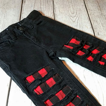 Kids' Black Distressed Denim - Plaid Flannel