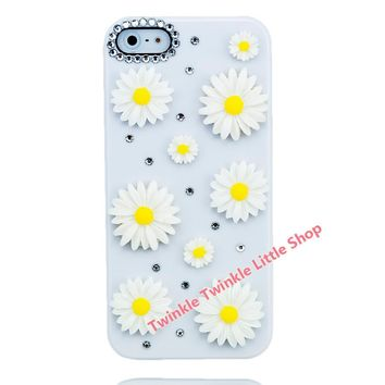 Hot Crystal Diamond Hard Back 3D Bling Flower Rhinestone Phone Cases For Apple iphone 5s case for iphone 5c case