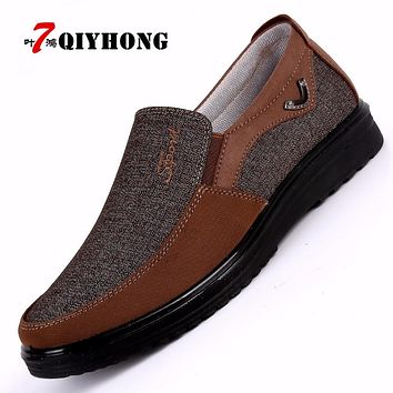QIYHONG Brand Shoes Men Adult Rubber Solid Slip On Flats Breathable Comfort Tenis Masculino Adulto Sapato Zapatos Hombre Sneak