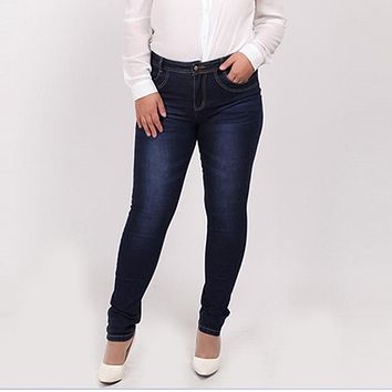 Plus size jeans blue color casual brand denim pants woman pencil jean trousers  L-5XL big size