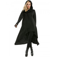 Women Drawstring Hooded Cloak Cape Asymmetrical Hem Hoodie Dress