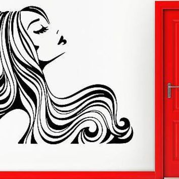 Wall Sticker Vinyl Decal Sexy Girl With Beautiful Hair Beauty Hair Salon Unique Gift (em423)