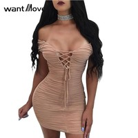 Wantmove women sexy double lined scrunch lace up dress 2017 summer club party back zipper women sheath mini dresses XD941