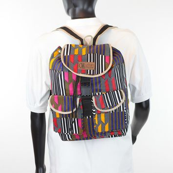 African Print Back Pack-Blue Kente Print