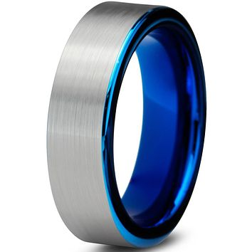 6mm Silver Brushed Pipe Cut Blue