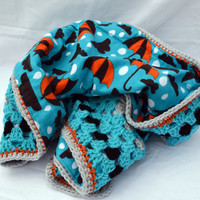 Rain drops in blues, orange, and black crochet baby blanket, granny square reversible crochet baby blanket