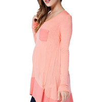 Coral-ation Contrast Maternity Tunic