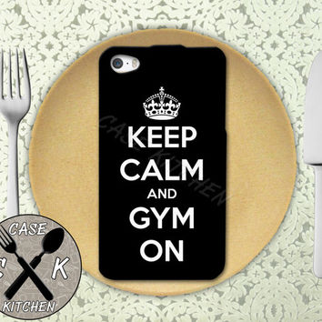 Keep Calm And Gym On Quote Crown Workout Rubber Tough Case For iPhone 4 and 4s and iPhone 5 and 5s and 5c and iPhone 6 and 6 Plus +