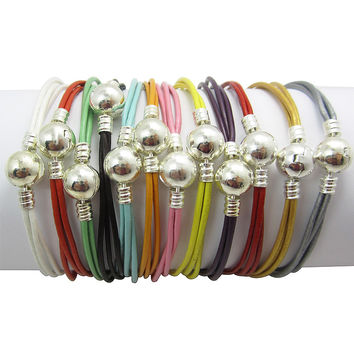 3 Style 12pcs/lot Mix color Round Clasp Lock Leather Bracelet 18-21cm Fit European Silver Charms Beads Fashion Jewelry PABR03