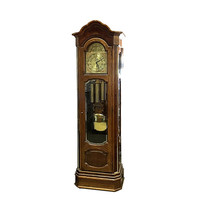 Vintage Howard Miller Grandfather Clock, Moon, House & Tall Ship, Chime