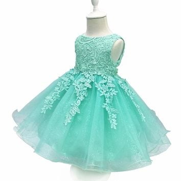 Free Shipping 2-10 Years Lace Girl Party Dress 2017 New Design Formal Children Prom Gowns Tulle Flower Girl Dresses For Weddings