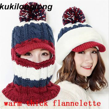 kukilonglong 2017 warm winter knitted hats for women fashion thick flannelette skullies caps for girls beanies gorras sports cap