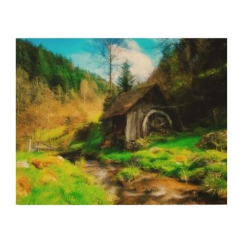 Retro Old Mill In Mountain Valley On Small River Wood Wall Art