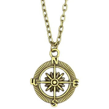 Compass Explorer Necklace Gold Tone Antique Map Scout Directions Charm Pendant NN49 Fashion Jewelry
