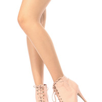 Blush Faux Leather Lace Up Peep Toe Heels