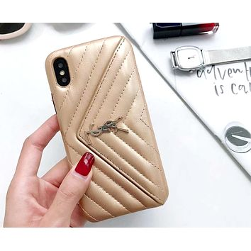 YSL tide brand female wallet models drop iPhonexs max mobile phone case cover Gold