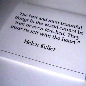 Romantic Valentine, Love Card, Helen Keller, The best and most beautiful Love quote card, Valentine, anniversary, gift, poem, quote, sweet