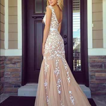 New Arrival Cap Sleeve Boat Neck Champagne Lace Prom Dresses Long Applique Floor Length Backless 2016 Tulle Mermaid vestido