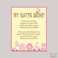 Girl Safari Baby Shower My Water Broke Game Sign - Instant Download  My Water Broke Baby Shower Activity Ice Cube Baby Shower Drink BS0001-P