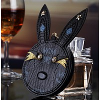 MCM creative rabbit head makeup mirror charger, hanging mirror mobile power supply Black