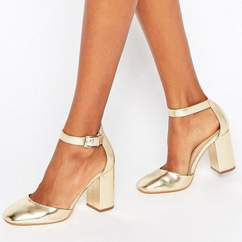 New Look Metallic Block Heeled Shoe at asos.com