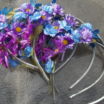 Fairy Party Favor Five Pack, Set of Five Matching Blue and Purple Flower Headbands, Flower Crowns for Birthday Parties or Weddings